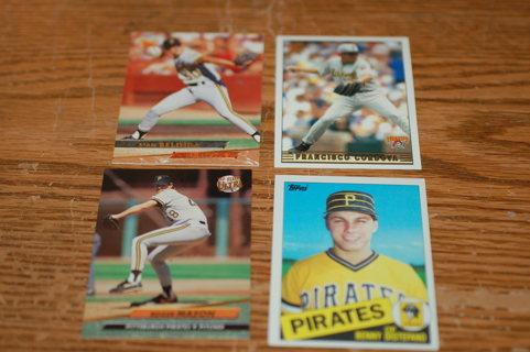 Set of 4 Pittsburg Pirates Baseball Cards, Mason and Distefano