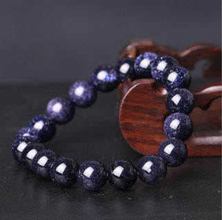 [GIN FOR FREE SHIPPING] Natural Gemstone Blue Sand Stone Beads Bracelet