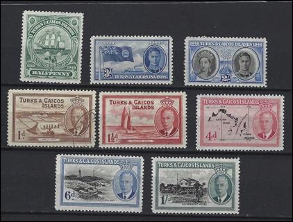 1948-50 Turks & Caicos stamps (8), MNH/MH/U, VF-XF, with Scott IDs, est CV $8.25