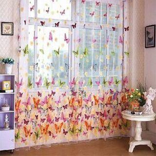 Door Window Sheer Curtain Panel Sheer Curtain Butterfly Print 200cm X 100cm