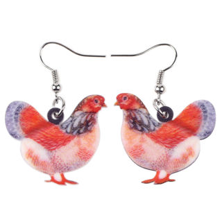 1 Pairs Acrylic Floral Hen Chicken Earrings