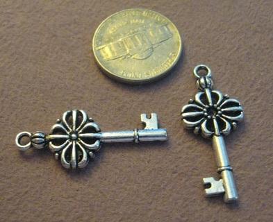 2 Medium Silvertone Fancy Pewter Key Charms ~ GIN