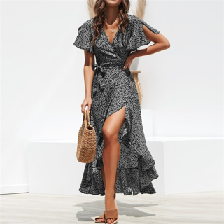 2020 Summer Beach Maxi Dress Women Floral Print Boho Long 1Pc