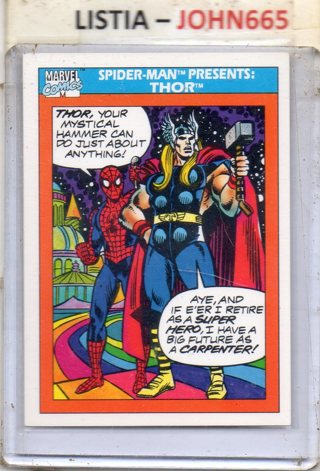 Thor and Spider-man - 1990 Marvel Cards #154... Mint .... Free S/H
