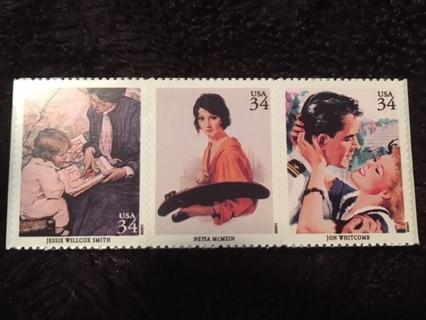 3 2001 American Illustrator USA Stamps!