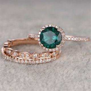 2020 Emerald BirthstoneSilver Ring Size 6-10 x 3Pcs/Set