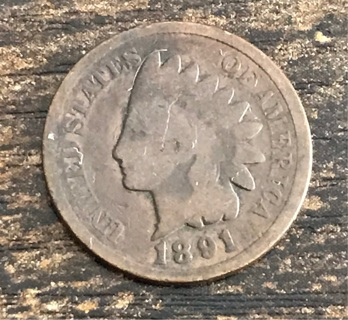 1891 Indian USA Cent Penny Coin