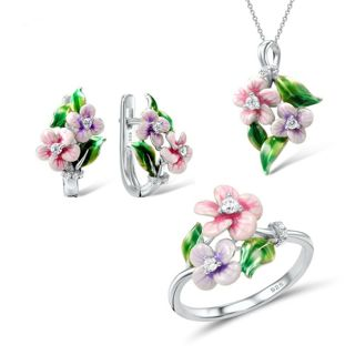 2020 Shimmer Enamel Flower Set Silver Floral Ring + Earrings + Necklace
