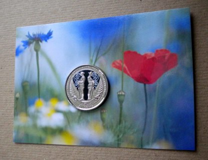 2015 MINT NZ 50c ANZAC COIN ON BACKGROUND