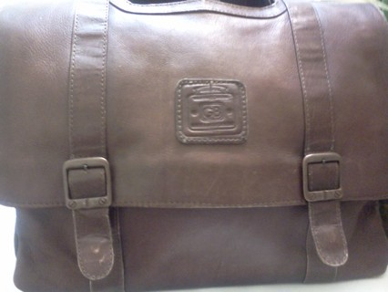 10b61acee355 100% Geoffrey Beene Tan Brown Leather Briefcase Attache Messenger bag  Expandable