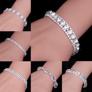Silver Crystal Rhinestone Bangle Bracelet Wedding Bridal Jewelry