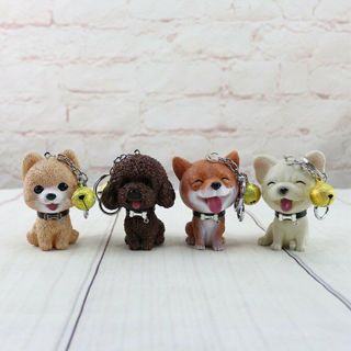 Cute Squeeze Sound Dog Doll Keychain w/Ring Bell Key Ring Bag Purse Pendant Gift
