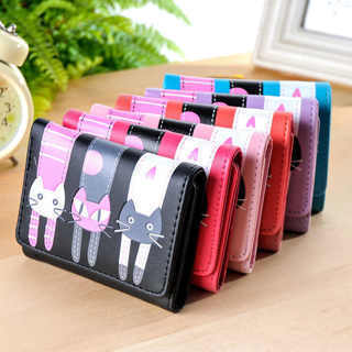 Women Cartoon Short Wallet Cat Pattern Coin Purse Zipper Card Holder Handbag New