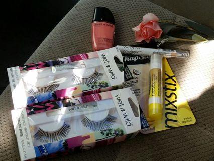 Growing makeup lot eyelashes nail polish chapstick eyebrow wax shaper + more!