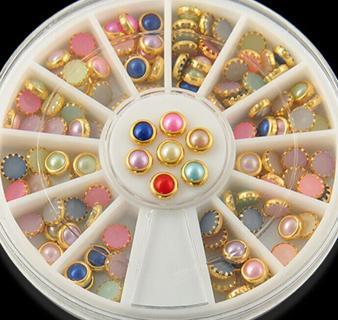 120pcs/Wheel DIY 3D Nail Art Tips Pearls Studs Glitter Rhinestone Decoration JT5