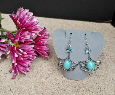 New Lovely Pair of Bold Silver Statement Turquoise Phoenix Earrings