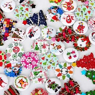 50Pcs 2 Holes Handmade Wood Sewing Christmas Santa Claus Elk Xmas Decor