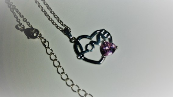 FREE NEW LOVE HEART CHARM NECKLACE WITH LIGHT PINK CRYSTAL RHINESTONE GEM - NIP!