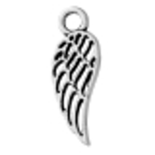 Two Antique Silver Hollow Wing Charm / Pendant - 18x7mm