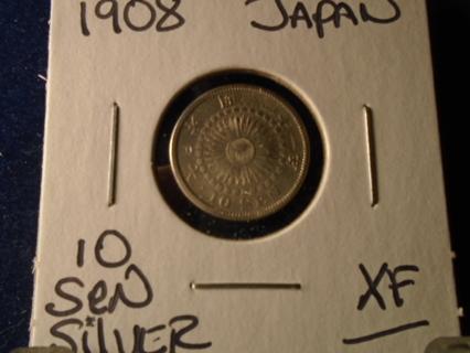 1908 JAPAN SILVER 10 SEN..NICE XF CONDITION!