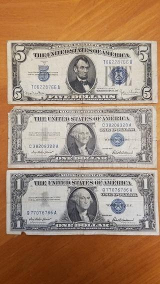 3 Note Lot - Blue Seal Silver Certificate - Old Vintage Dollars - Antique Money