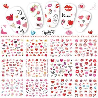 12 Designs Valentine Nail Stickers Heart Rose Red Lips Gifts Water Transfer Decals Decorations for