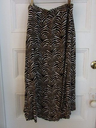 Brown / Black Animal Print Hi Low Maxi Skirt- Sz M
