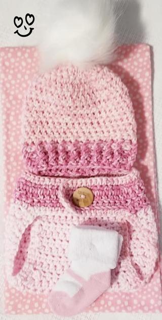 Crochet Newborn GIRL Photography Outfit Crochet Baby Diaper Cover & Headband & 1 Receiving Blanket