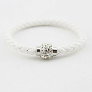 NEW WHITE LEATHER CUFF BRACELET WITH A MAGNETIC RHINESTONE CLOSURE