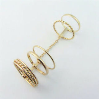 New Sets Knuckle Hollow Punk Flower Joint Charm Double Full Gold Finger Ring