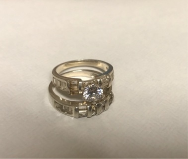 Sterling Silver CZ Wedding Ring and Band Set