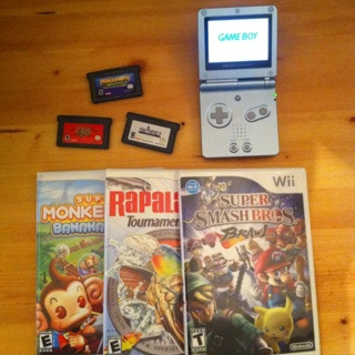 Nintendo Bundle - Gameboy Advance SP with 3 Games + 3 Wii Games