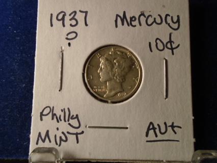 AU+ 1937-P U.S. MERCURY SILVER DIME AU+ CONDITION!