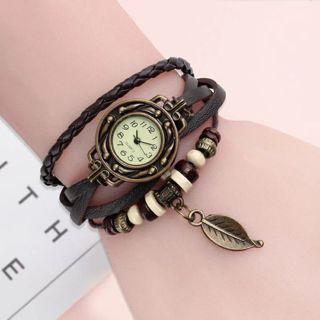 Multicolor High Quality Women Genuine Leather Vintage Quartz Dress Watch Bracelet Wristwatches leaf
