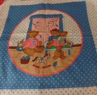 """Super Cute Bear Block to Quilt and Make Into A Really Cute Pillow, 18"""" Block, 100% Cotton - APA-108"""