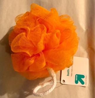 """BNWT """"Up & Up"""" Orange Bath Scrubber / Beauty Sponge"""