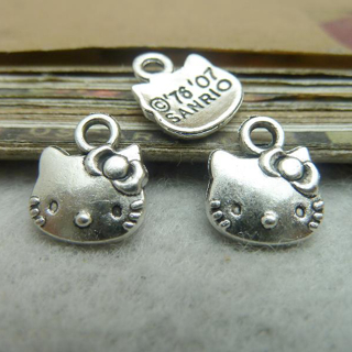 [GIN FOR FREE SHIPPING] 50Pcs Kitty Cat Charms 10mm x 13mm DIY Jewelry Making
