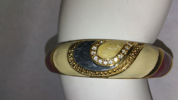 bangle red grey off white yellow gold plate bracelet crystal stones wide epoxy