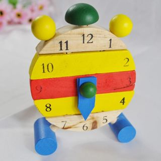 Baby Blocks Early Learning Building Children Educational Wooden Toy Clock