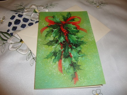 Christmas Holly & Berries with Red Ribbon Vintage Card ~ Free Shipping