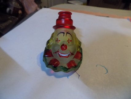 handblown glass clown red hat, frosted face, yellow hair red & green neck cuff