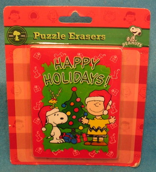FREE: L186 PEANUTS PUZZLE ERASERS CHRISTMAS SNOOPY & CHARLIE BROWN