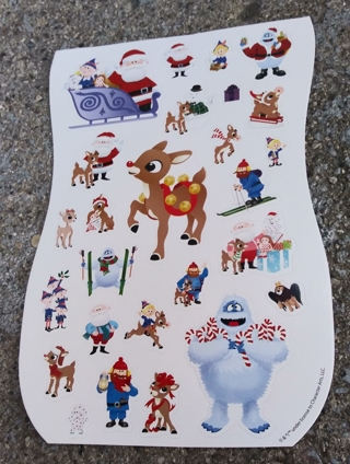 CHRISTMAS RUDOLPH THE RED NOSED REINDEER STICKERS 3 SHEETS
