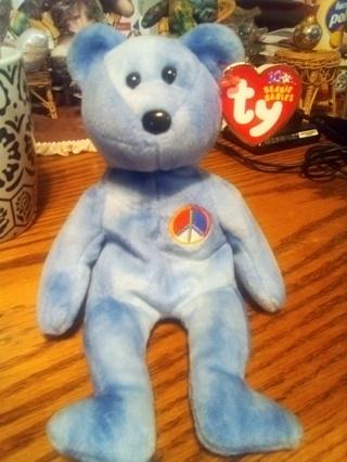 TY Beanie Baby 10th Anniversary Peace Bear 2002