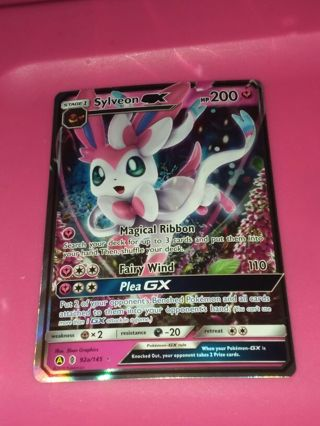L@@K! MIS-CUT Alt. Artwork Promo Sylveon GX 92a/145 Ultra Rare Pokemon Card NM-MINT