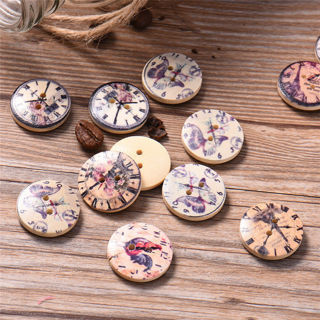 [GIN FOR FREE SHIPPING] 50 PCS Retro Clock Wooden Sewing Buttons 2 Holes