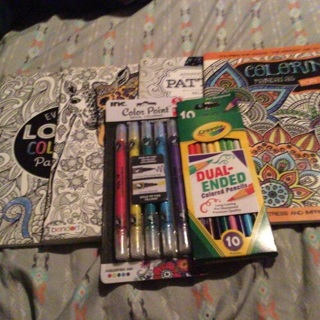Bendon Coloring Books, Markers and Colored Pencils
