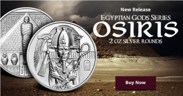 2 oz .999 FINE Silver Egyptian Gods Osiris Round Ultra High Relief IN STOCK!!