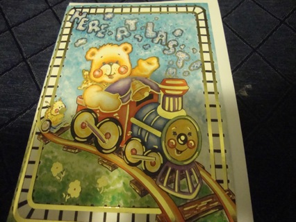 Teddy Bear Riding a Train  Note Card ~ Free Shipping