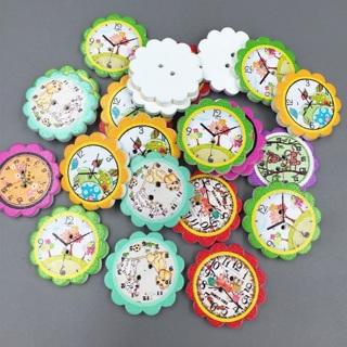 50PCs Wooden Animal Prints Clocks Flower Buttons Sewing Scrapbooking Handicrafts 25mm